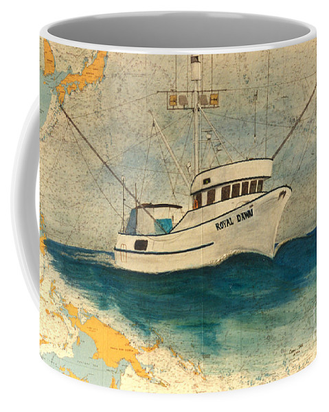 Royal Coffee Mug featuring the painting F/v Royal Dawn Tuna Fishing Boat by Cathy Peek