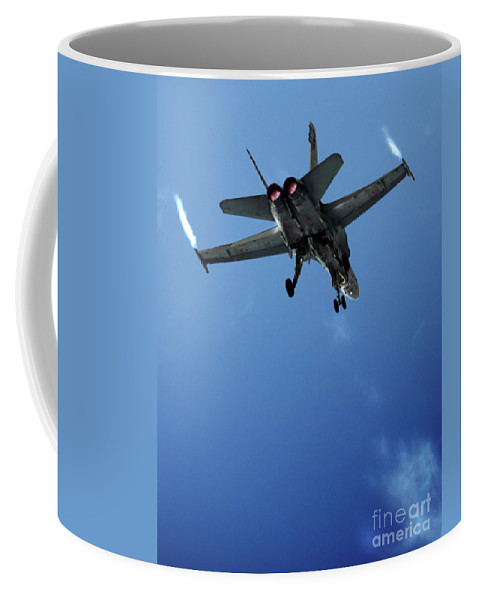 F/a-18 Superhornet Coffee Mug featuring the photograph f18 by Angel Ciesniarska