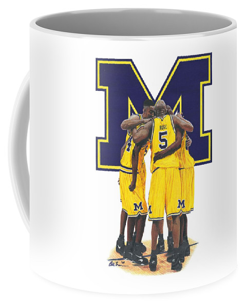 Fab Five Coffee Mug featuring the mixed media Fab Five by Chris Brown