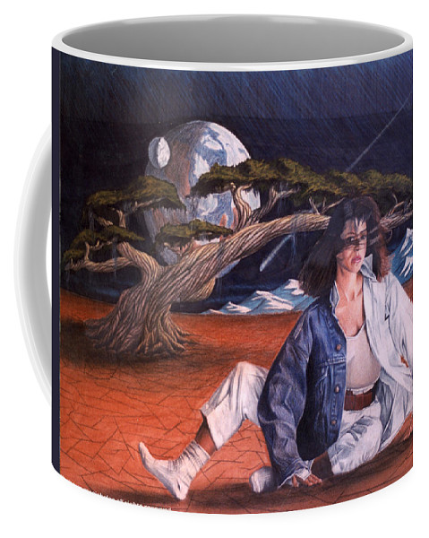 Woman Coffee Mug featuring the drawing Fabrics by Shaun McNicholas