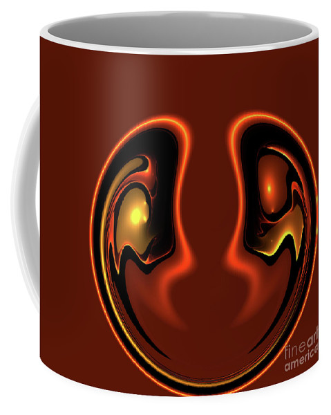 Abstract Face Together Eye Eyes Symbol Friendship Friends Couple Balance Brown Coffee Mug featuring the photograph Face To Face by Steve K
