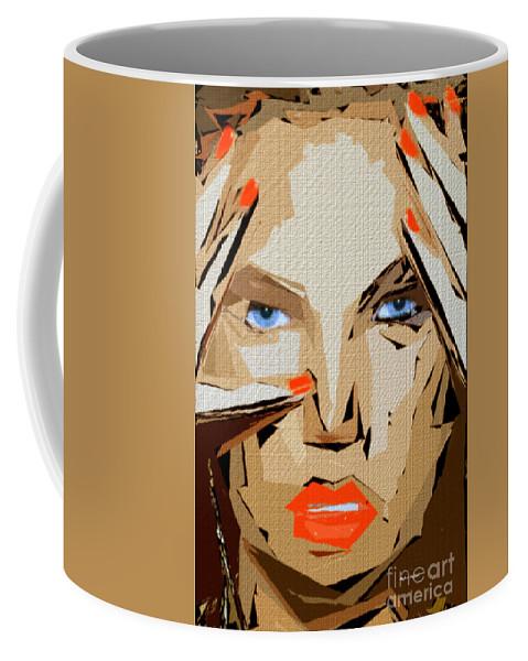 Female Coffee Mug featuring the digital art Facial Expressions Xix by Rafael Salazar
