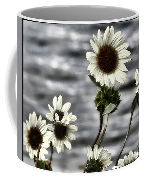 Enhanced Photography Coffee Mug featuring the photograph Fading Sunflowers by Susan Kinney