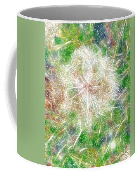 Dandelion Coffee Mug featuring the painting Faerie Fluff by RC DeWinter