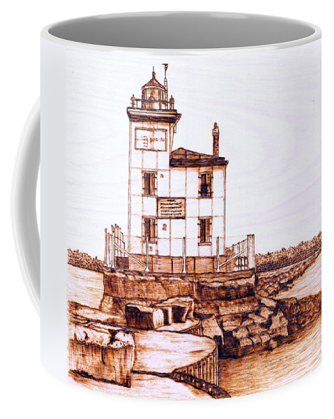 Lighthouse Coffee Mug featuring the pyrography Fair Port Harbor by Danette Smith