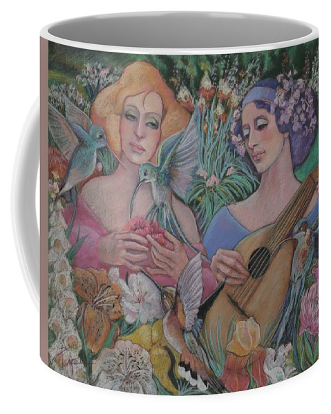 Pastel Painting Huge Flowers Coffee Mug featuring the pastel Faire Garden by Pamela Mccabe
