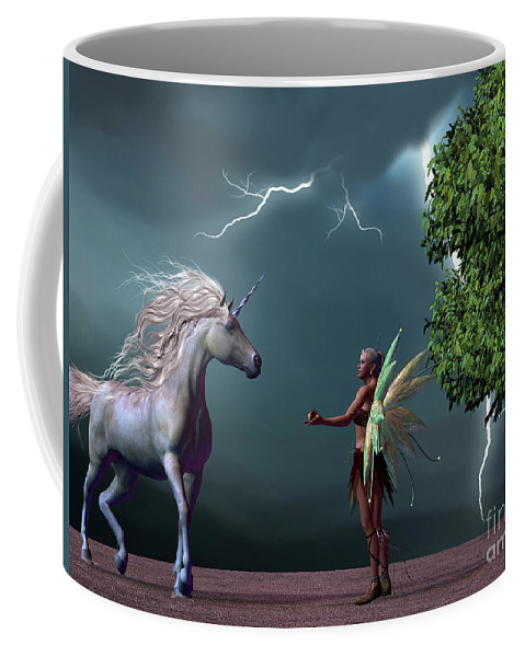Fairy Coffee Mug featuring the painting Fairy And Unicorn by Corey Ford