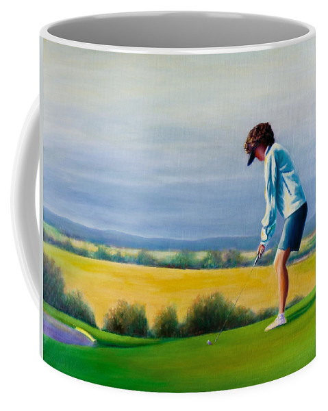 Golfer Coffee Mug featuring the painting Fairy Golf Mother by Shannon Grissom