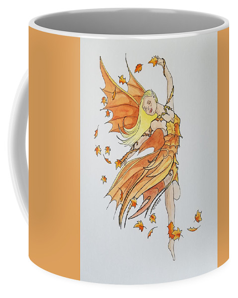 Fairy Coffee Mug featuring the painting Fall Fairy by Johnny McNabb