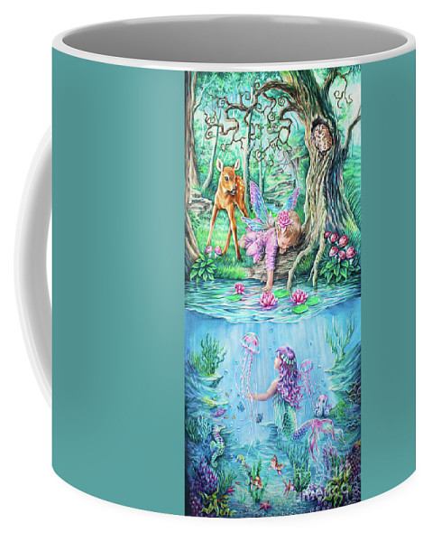 Anne Koivumaki Fine Art Anne Colored Pencil Coffee Mug featuring the drawing Fairy Tale by Anne Koivumaki - Fine Art Anne