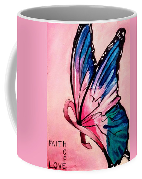 Breast Cancer Coffee Mug featuring the painting Faith For The Cure by Jessica Mincy