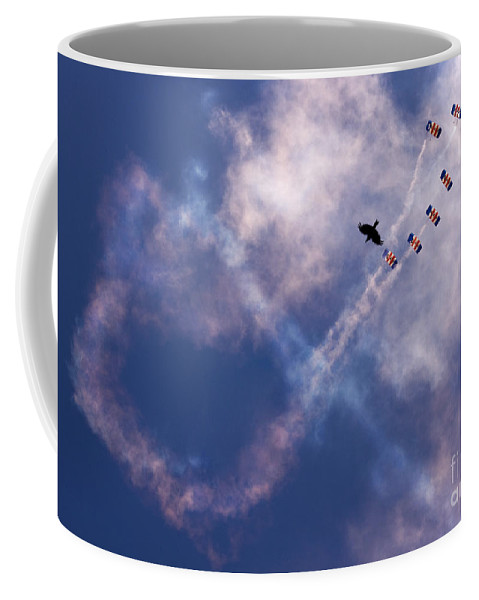 Raf Falcons Coffee Mug featuring the photograph Falcons Vs Crows by Angel Ciesniarska