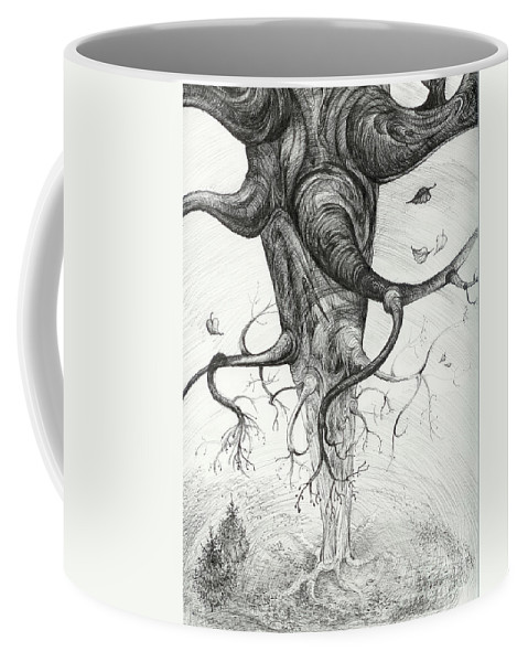 Pen And Ink Coffee Mug featuring the drawing Fall by Anna Duyunova