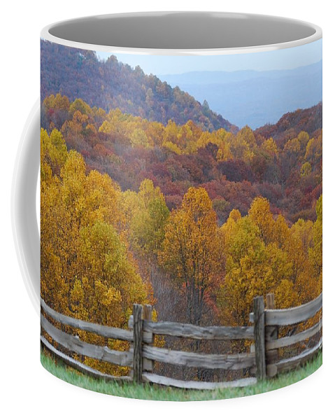 Fence Coffee Mug featuring the photograph Fall Blend by Eric Liller