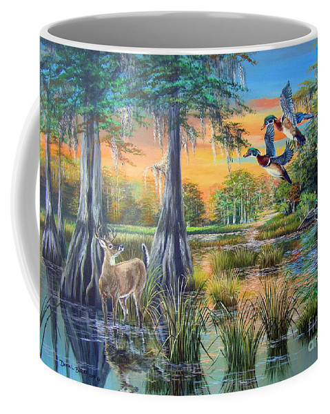 Deer Coffee Mug featuring the painting Fall Bounty- Big Cypress Swamp by Daniel Butler