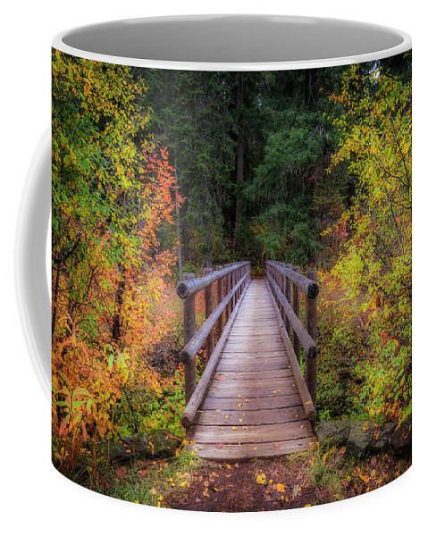 Fall Coffee Mug featuring the photograph Fall Bridge by Cat Connor