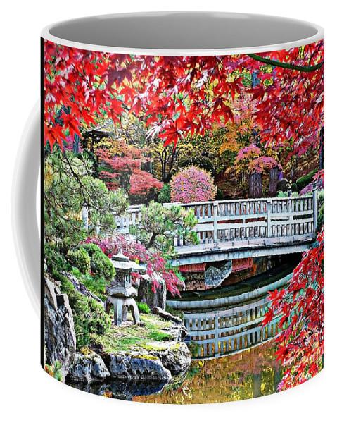 Autumn Bridge Coffee Mug featuring the photograph Fall Bridge In Manito Park by Carol Groenen