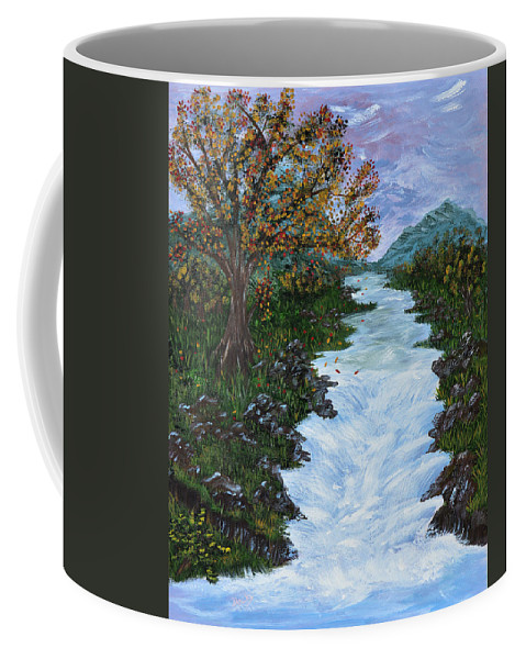 Fall Coffee Mug featuring the painting Fall By The River by Donna Blackhall