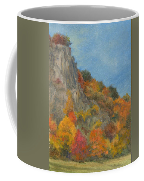 Oil Landscape Coffee Mug featuring the painting Fall Colors At Hook Mountain by Phyllis Tarlow