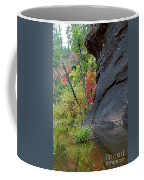 Landscape Coffee Mug featuring the photograph Fall Colors Peek Around Mountain Vertical by Heather Kirk