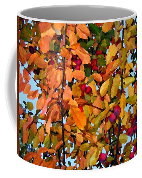 Autumn Coffee Mug featuring the digital art Fall Crab Apples by Will Borden