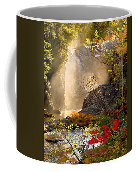 Fall Coffee Mug featuring the photograph Fall Falls Mist Dead River Falls Marquette Mi by Michael Bessler