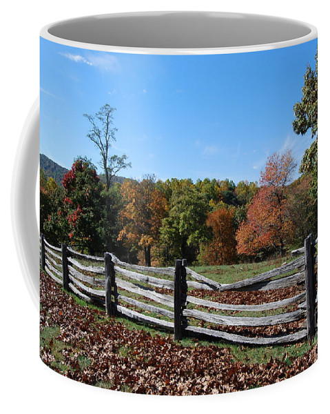 Rural Coffee Mug featuring the photograph Fall Fence by Eric Liller