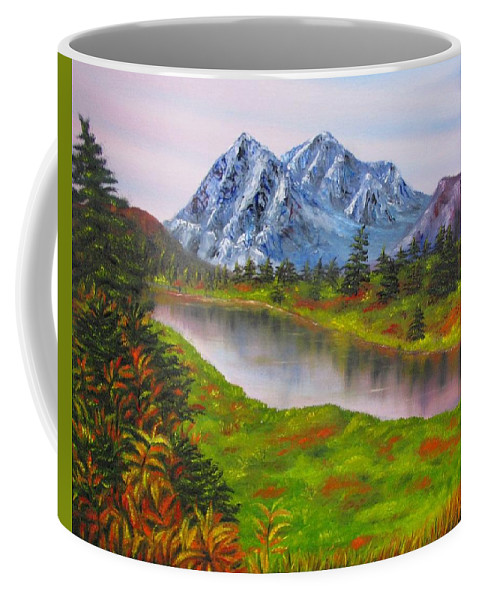 Fall Coffee Mug featuring the painting Fall In Mountains Landscape Oil Painting by Natalja Picugina