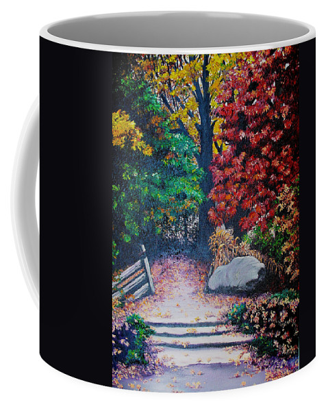 A N Original Painting Of An Autumn Scene In The Gateneau In Quebec Coffee Mug featuring the painting Fall In Quebec Canada by Karin Dawn Kelshall- Best