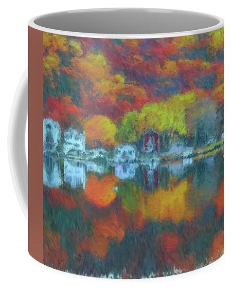 Fall Lake Coffee Mug featuring the painting Fall Lake by Harry Warrick