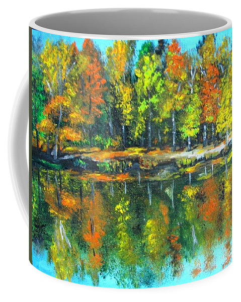 Fall Coffee Mug featuring the painting Fall Landscape Acrylic Painting Framed by Natalja Picugina