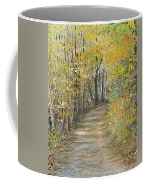 Fall Scene Painting For Sale Coffee Mug featuring the painting Fall Lane by Penny Neimiller