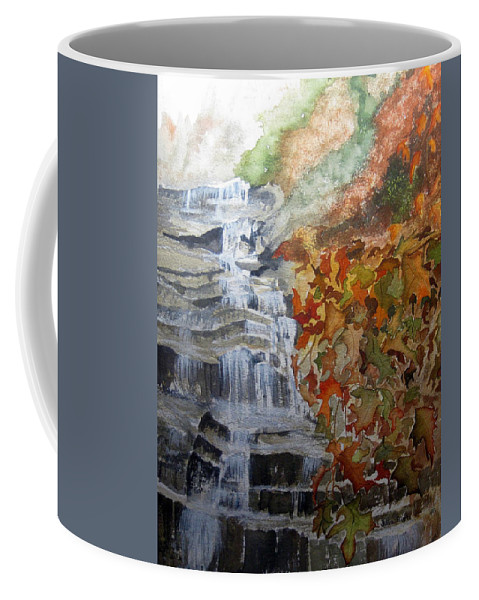 Water Fall Coffee Mug featuring the painting Fall Leaves by Julia Rietz