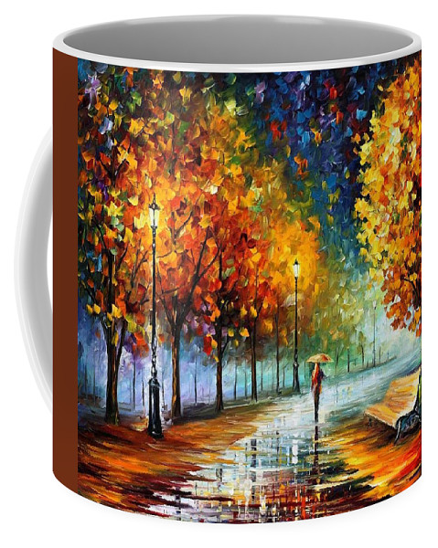 Afremov Coffee Mug featuring the painting Fall Marathon by Leonid Afremov