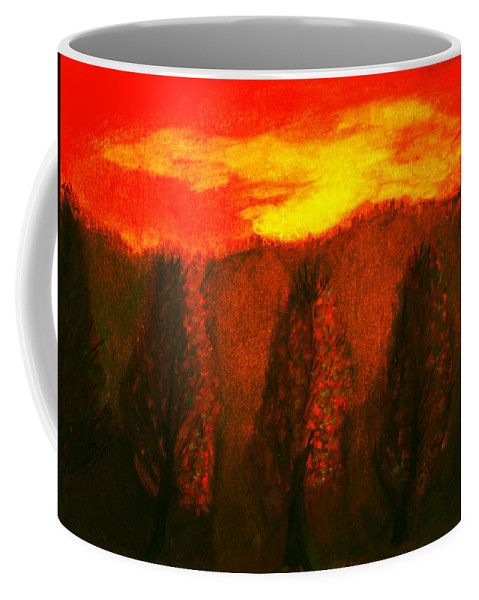 Sky Coffee Mug featuring the pastel Fall by Melvin Moon