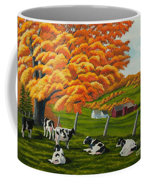 Fall Paintings Coffee Mug featuring the painting Fall On The Farm by Charlotte Blanchard