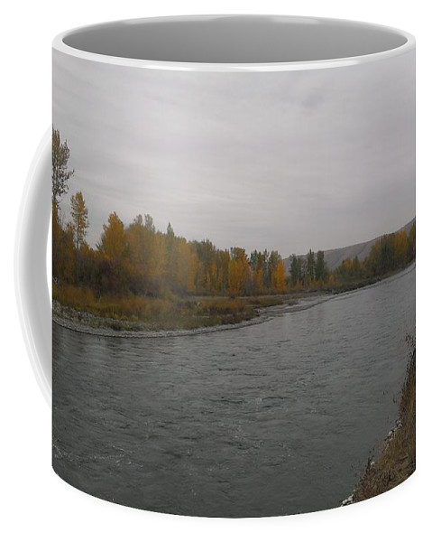Autumn Coffee Mug featuring the photograph Fall Rains Down On The River by LKB Art and Photography