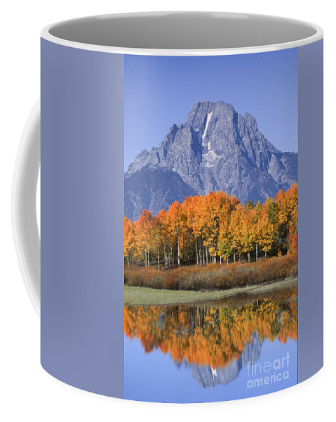 Grand Tetons Coffee Mug featuring the photograph Fall Reflection At Oxbow Bend by Sandra Bronstein