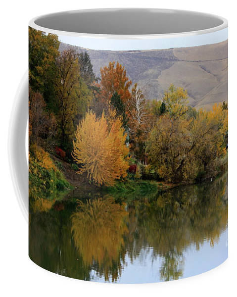Prosser Coffee Mug featuring the photograph Fall Reflection Below The Hills In Prosser by Carol Groenen