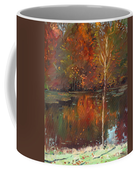Landscape Coffee Mug featuring the painting Fall Reflection by Ylli Haruni
