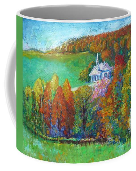 Fall Coffee Mug featuring the painting Fall Scene by Meihua Lu
