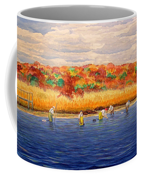 Watercolor Coffee Mug featuring the painting Fall Shellfishing In New England by Charles Harden