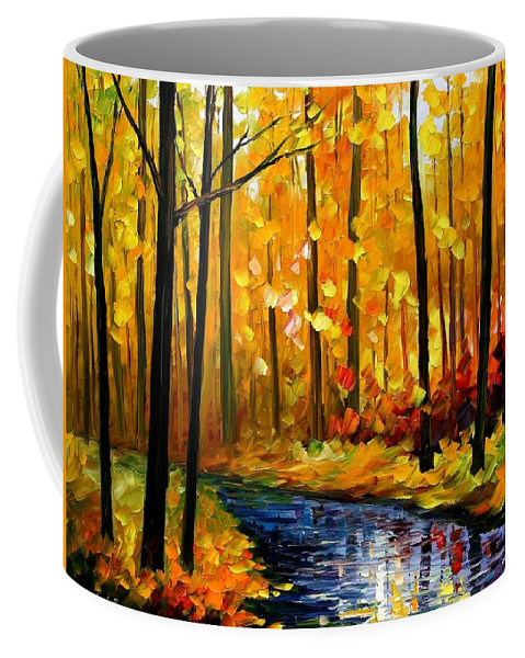Afremov Coffee Mug featuring the painting Fall Stream by Leonid Afremov
