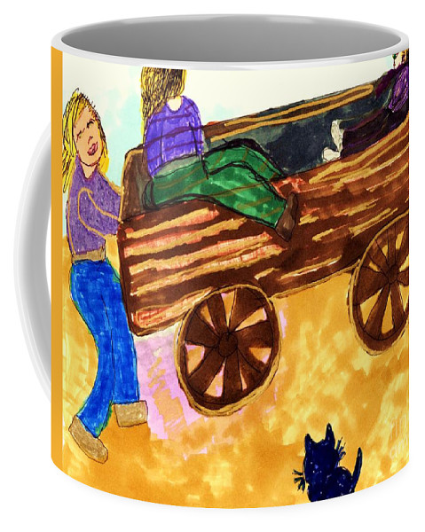 Wagon 2 Girls Pushed By A Girl Cat Coffee Mug featuring the mixed media Fall Wagon Ride by Elinor Helen Rakowski