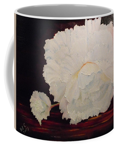 Begonia Coffee Mug featuring the painting Fallen Begonia by Valerie Curtiss