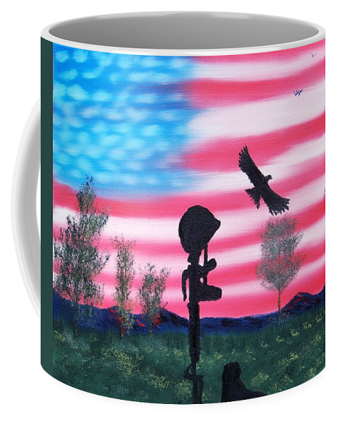 U.s. Flag Coffee Mug featuring the painting Fallen Soldier by Lawrence Booth