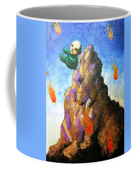 Figure Coffee Mug featuring the painting Falling Off The Mountain by Pauline Lim