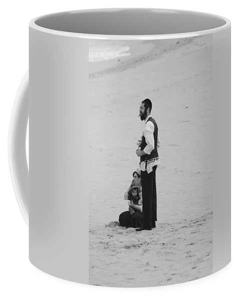 Black And White Coffee Mug featuring the photograph Family Beach Day by Rob Hans
