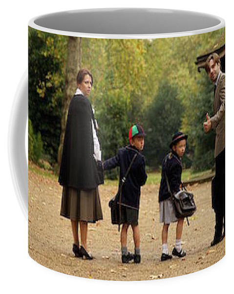 Britain Coffee Mug featuring the photograph Family Of Four In Park Beside Bandstand by Ndp