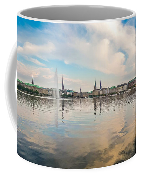 Alster Coffee Mug featuring the photograph Famous Binnenalster In Hamburg Downtown At Sunset by JR Photography